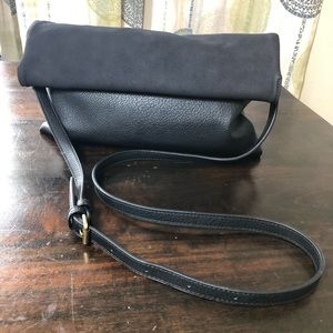 🌸 Anthropologie Black Faux Leather Crossbody Bag
